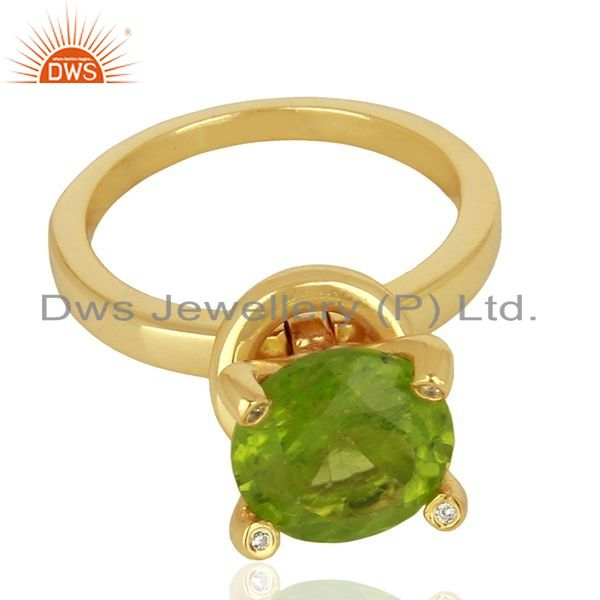 Exporter Natural Peridot Stackable 925 Sterling Silver Ring Gemstone Jewelry
