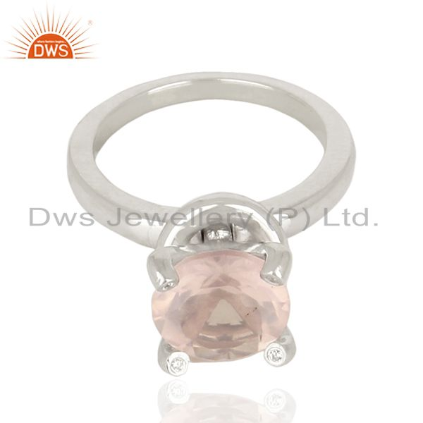 Exporter Rose Quartz CZ Stackable 925 Sterling Silver Prong Set Ring Gemstone Jewelry