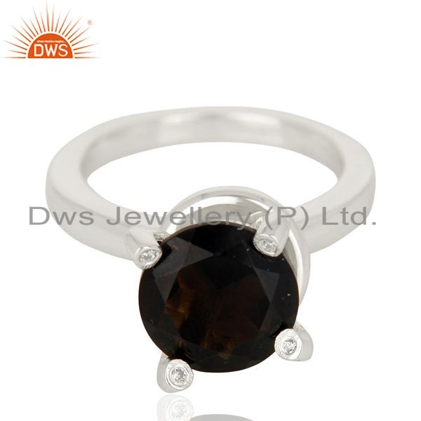 Exporter Smoky Quartz And CZ Stackable 925 Sterling Silver Prong Set Ring Jewelry