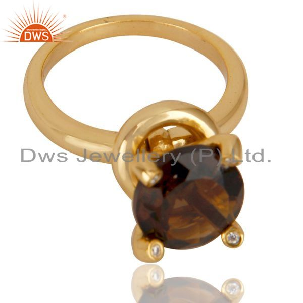 Exporter 14K Yellow Gold Plated 925 Sterling Silver Smokey Topaz & CZ Prong Set Ring
