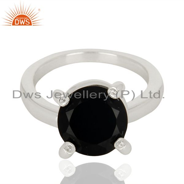 Exporter Black Onyx And CZ Stackable 925 Sterling Silver Prong Set Ring Gemstone Jewelry