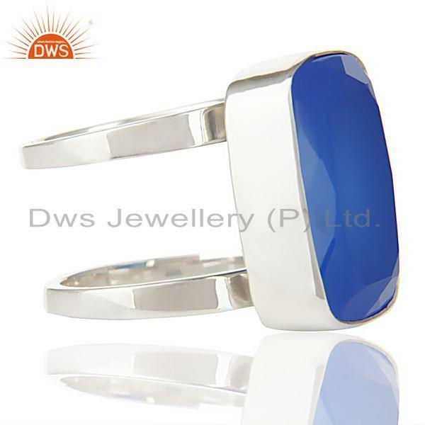 Designers Stunning 925 Sterling Silver Handmade Dyed Blue Chalcedony Cocktail Ring Jewelry