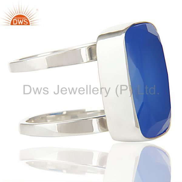 Exporter Stunning 925 Sterling Silver Handmade Dyed Blue Chalcedony Cocktail Ring Jewelry
