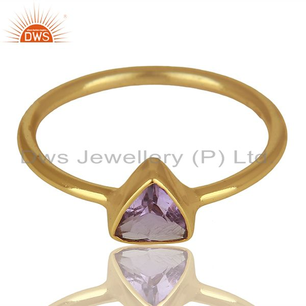 Exporter February Birthstone Amethyst Gold Plated 925 Silver Gift Rings Jewelry