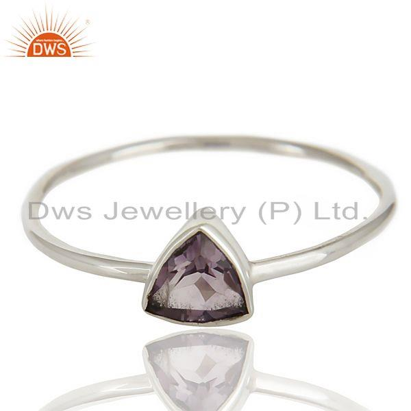 Wholesalers Natural Amethyst Gemstone Stackable 925 Sterling Silver Ring Jewelry