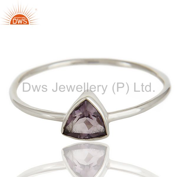 Exporter Natural Amethyst Gemstone Stackable 925 Sterling Silver Ring Jewelry