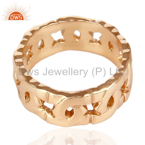 Exporter 14K Rose Gold Plated 925 Sterling Silver Art Deco Band Ring Gift Jewelry
