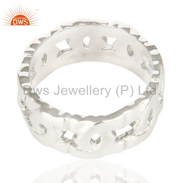 Exporter White Rhodium 925 Sterling Silver Art Deco Band Ring Gift Jewelry