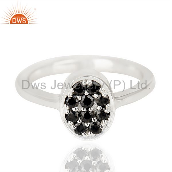 Exporter Black Zircon Oval Shape 92.5 Sterling Silver Solid Ring