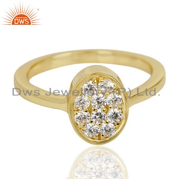 Exporter White Cz Oval Shape 14K Gold Plated 92.5 Sterling Silver Solid Ring
