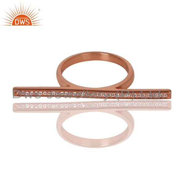 Exporter CZ Knuckle 14K Rose Gold Plated 925 Sterling Silver Ring Personalized Jewelry