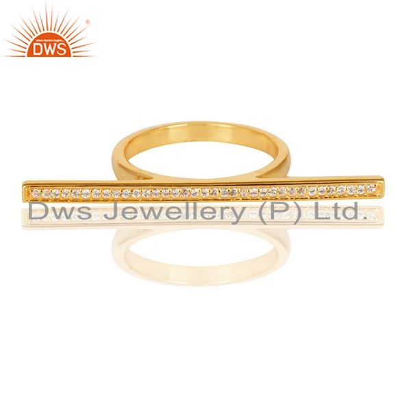 Exporter CZ Knuckle 14K Yellow Gold Plated 925 Sterling Silver Ring Personalized Jewelry