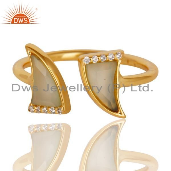 Exporter Aqua Chalcedony Two Horn Cz Studded Adjustable 14K Gold Plated 92.5 Silver Ring