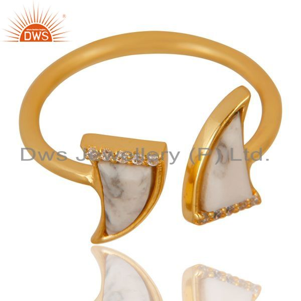 Exporter Howlite Two Horn Cz Studded Adjustable 14K Gold Plated 92.5 Silver Ring