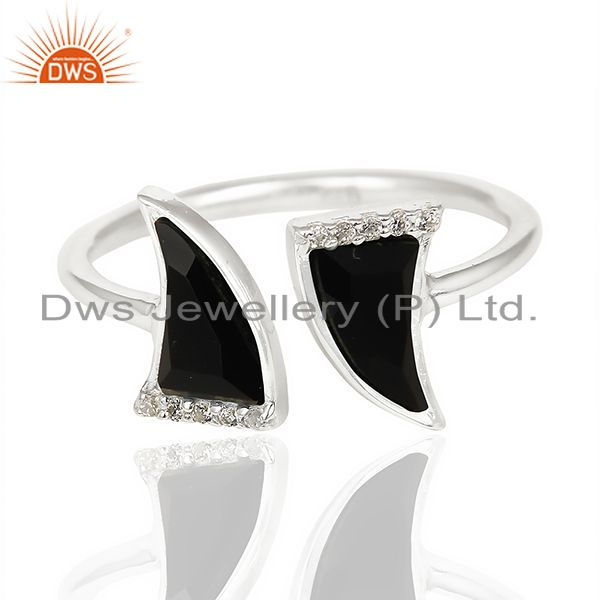 Exporter Black Onyx Two Horn Cz Studded Openable Adjustable 92.5 Sterling Silver Ring