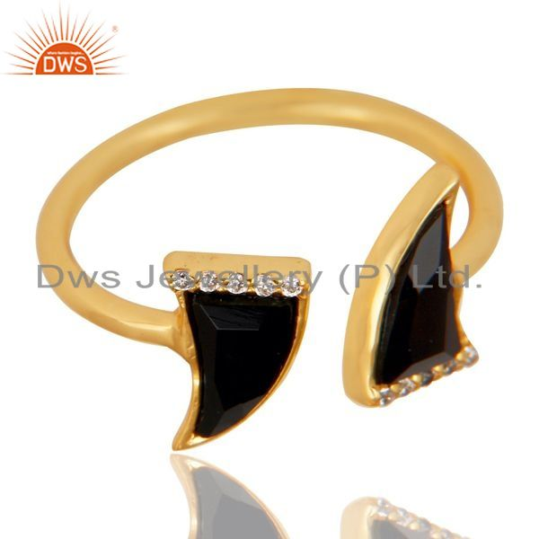 Exporter Black Onyx Two Horn Cz Studded Adjustable 14K Gold Plated 92.5 Silver Ring