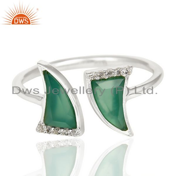 Exporter Green Onyx Two Horn Cz Studded Adjustable Openable 92.5 Sterling Silver Ring