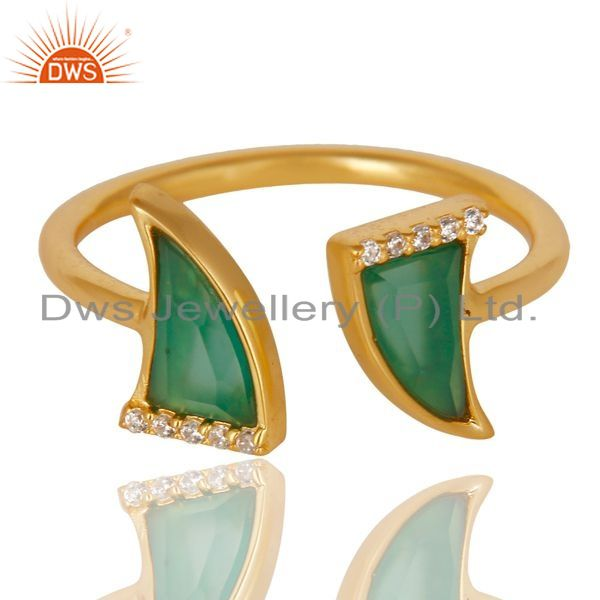 Exporter Green Onyx Two Horn Cz Studded Adjustable 14K Gold Plated 92.5 Silver Ring