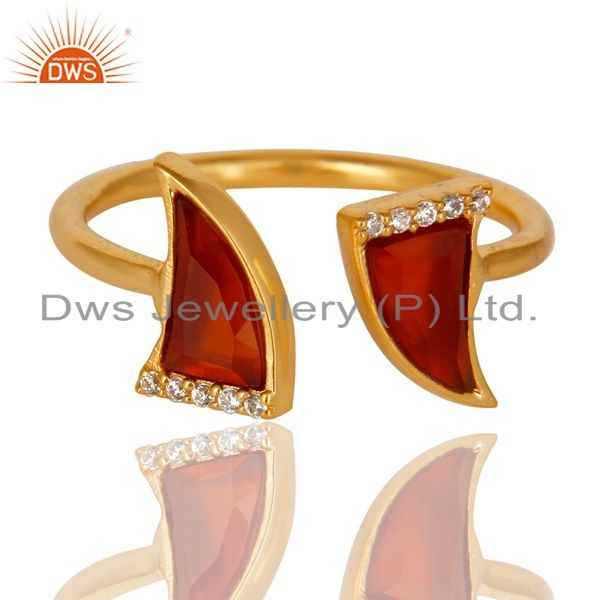 Exporter Red Onyx Two Horn Cz Studded Adjustable 14K Gold Plated 92.5 Silver Ring