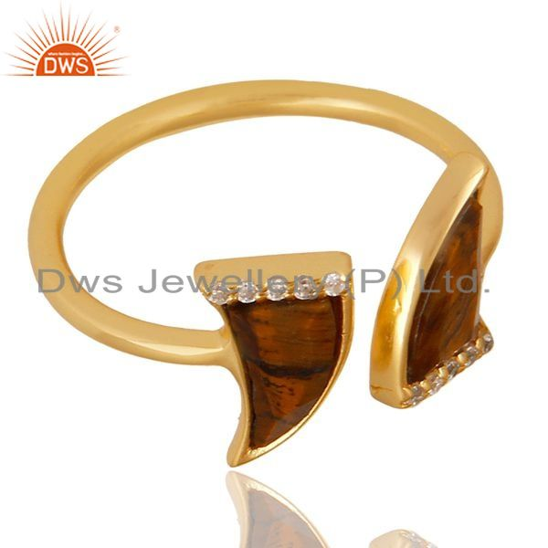 Exporter Tigereye Two Horn Cz Studded Adjustable 14K Gold Plated 92.5 Silver Ring