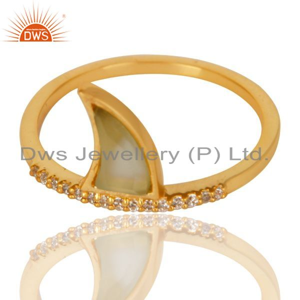 Exporter Aqua Chalcedony Horn Cz Studded Adjustable 14K Gold Plated 92.5 Silver Ring