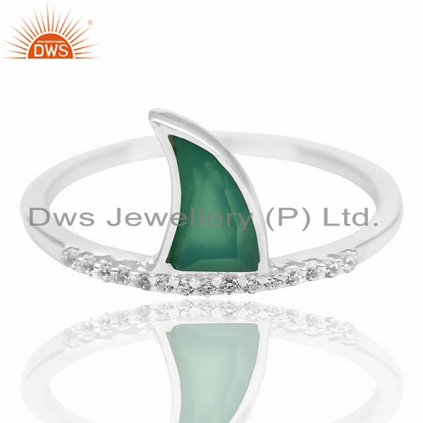 Exporter Green Onyx Horn Cz Studded Adjustable 92.5 Sterling Silver Ring