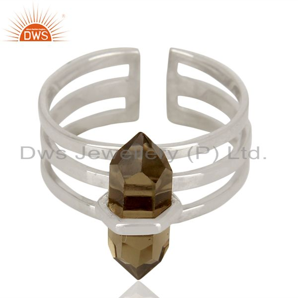Exporter Smoky Wide Horn Adjustable Openable 92.5 Sterling Silver Ring Gemstone Jewellery