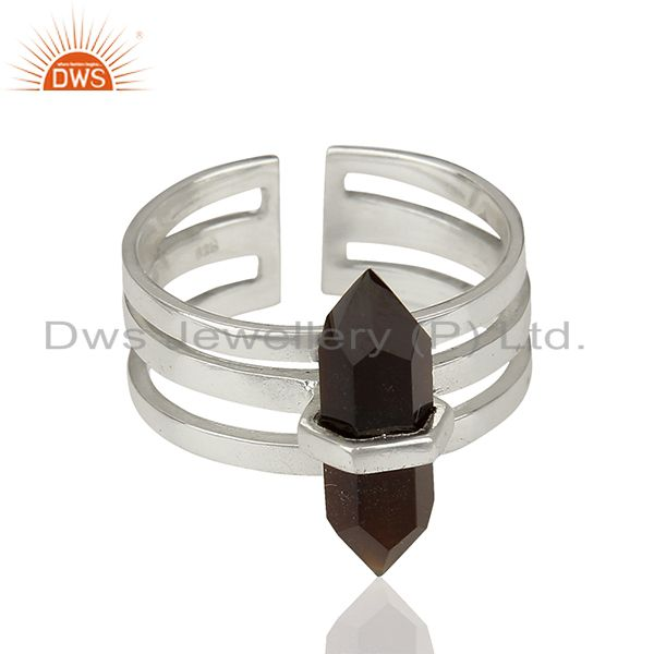 Exporter Black Onyx Wide Horn Adjustable Openable 92.5 Sterling Silver Ring