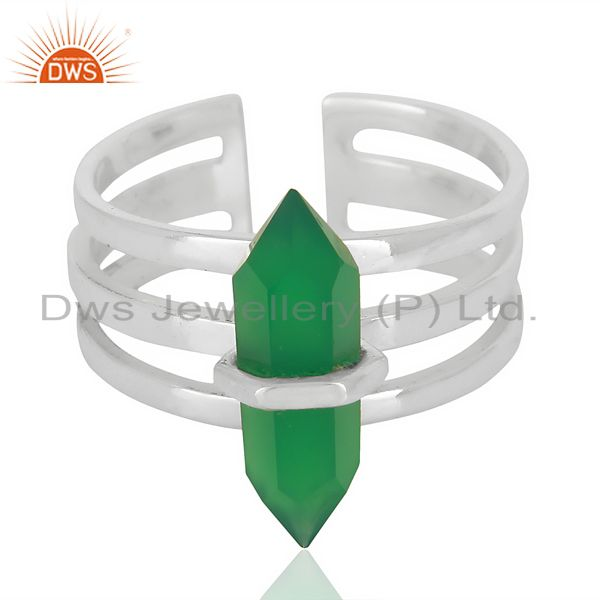 Exporter Green Onyx Wide Horn Adjustable Openable 92.5 Sterling Silver Ring