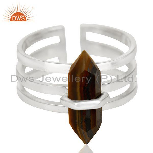Exporter Tigereye Wide Horn Adjustable Openable 92.5 Sterling Silver Ring