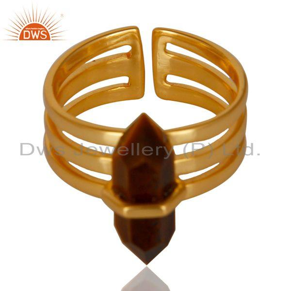 Exporter Tigereye Wide Horn Adjustable 14K Gold Plated Sterling Silver Ring