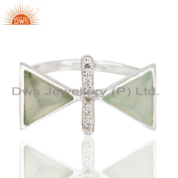 Exporter Aqua Chalcedony Triangle Cut Pyramid Cz Studded  Solid 92.5 Sterling Silver Ring