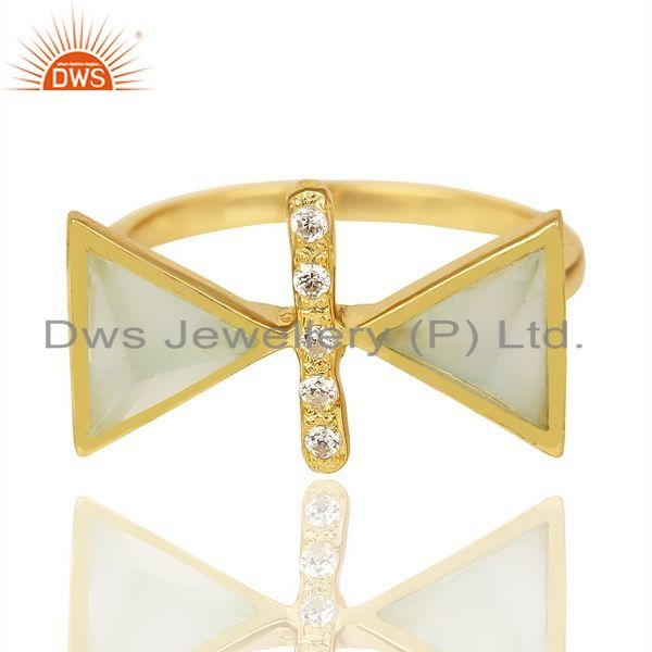 Exporter Aqua Chalcedony Triangle Cut Pyramid Cz Studded 14 K Gold Plated  Silver Ring