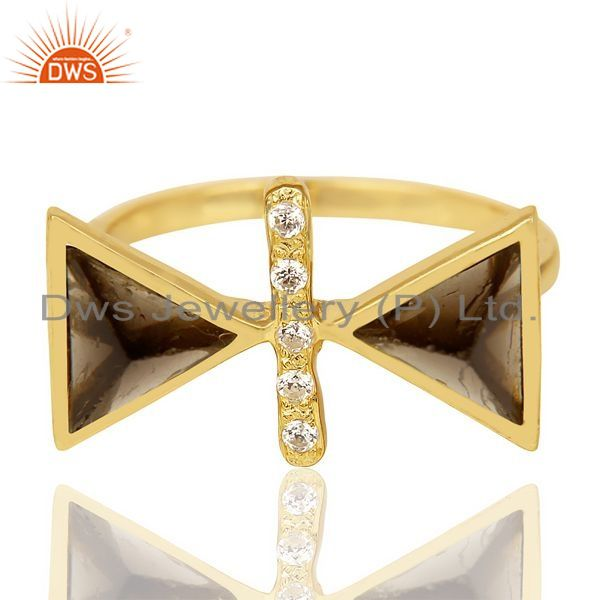 Exporter Smoky Topaz Triangle Cut Pyramid Cz Studded 14 K Gold Plated  Silver Ring