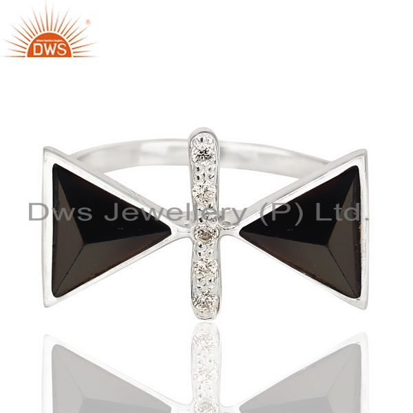 Exporter Black Onyx Triangle Cut Pyramid Cz Studded  Solid 92.5 Sterling Silver Ring
