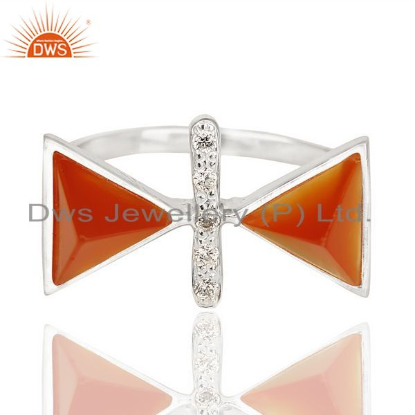Exporter Red Onyx Triangle Cut Pyramid Cz Studded  Solid 92.5 Sterling Silver Ring
