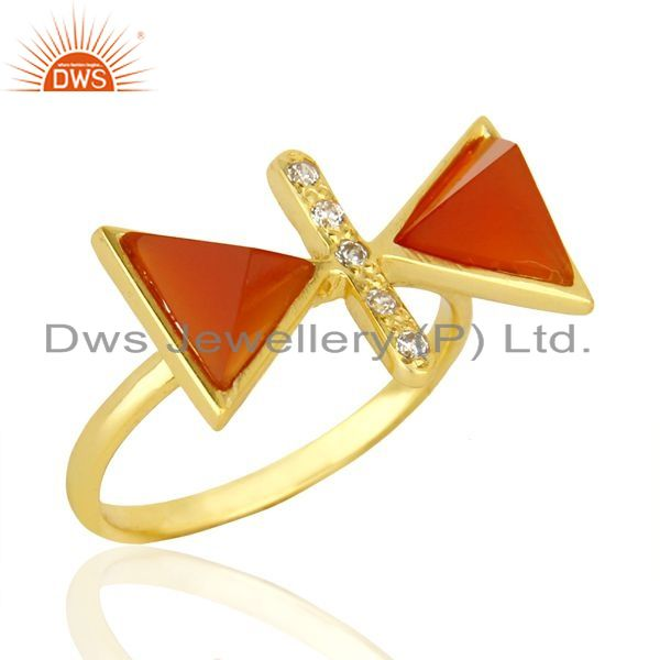 Exporter Red Onyx Triangle Cut Pyramid Cz Studded 14 K Gold Plated  Silver Ring