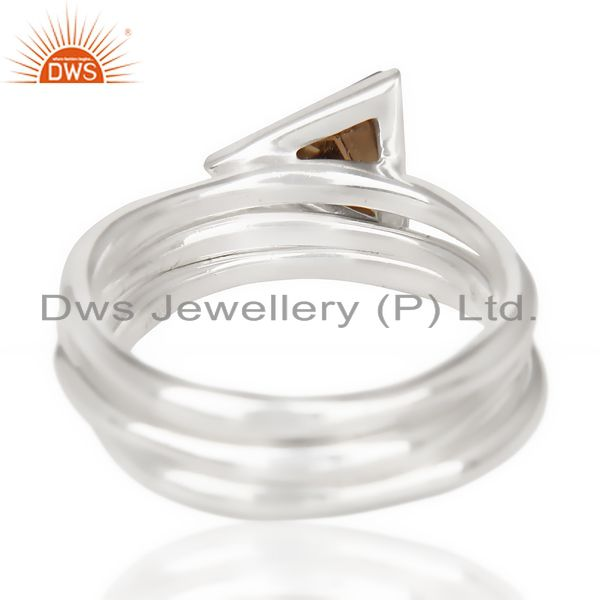 Exporter Smoky Topaz Triangle Cut Gemstone Stacking Ring 92.5 Sterling Silver Ring