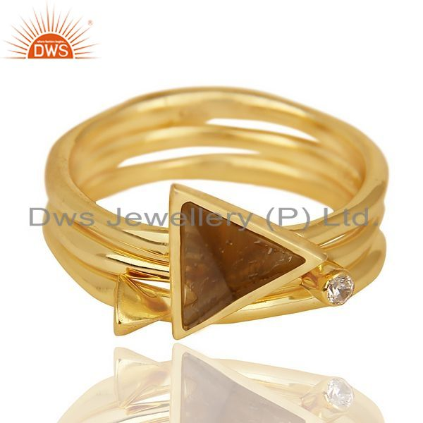 Exporter Smoky Topaz Triangle Cut Gemstone Stacking 14K Gold Plated 92.5 Silver Ring