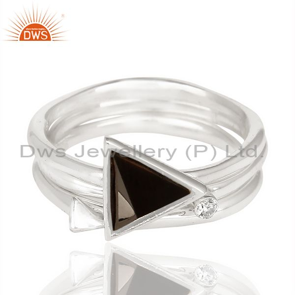 Exporter Black Onyx Triangle Cut Gemstone Stacking Ring 92.5 Sterling Silver Ring