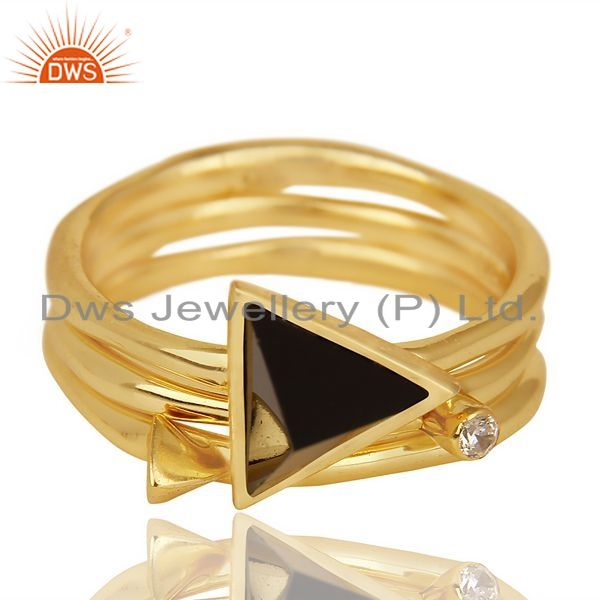 Exporter Black Onyx Triangle Cut Gemstone Stacking 14K Gold Plated 92.5 Silver Ring