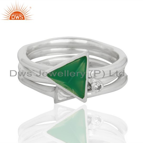 Wholesale Green Onyx Triangle Cut Gemstone Stacking Ring 92.5 Sterling Silver Ring