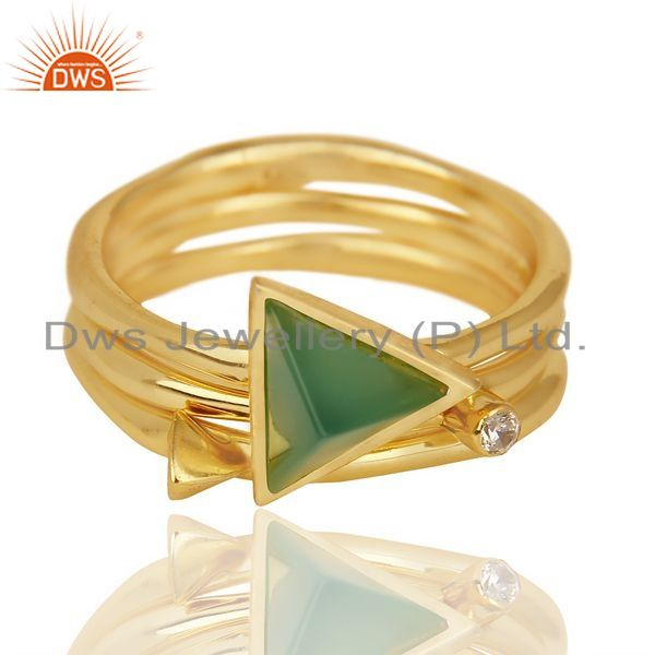 Exporter Green Onyx Triangle Cut Gemstone Stacking 14K Gold Plated 92.5 Silver Ring