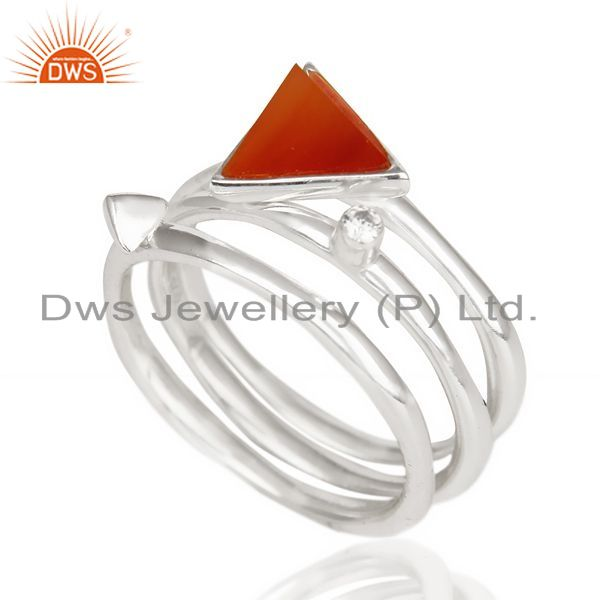 Exporter Red Onyx Triangle Cut Gemstone Stacking Ring 92.5 Sterling Silver Ring
