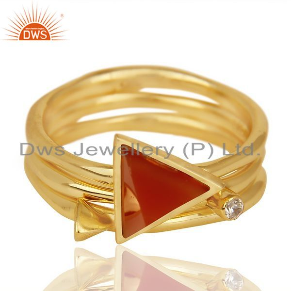 Exporter Red Onyx Triangle Cut Gemstone Stacking 14K Gold Plated 92.5 Silver Ring