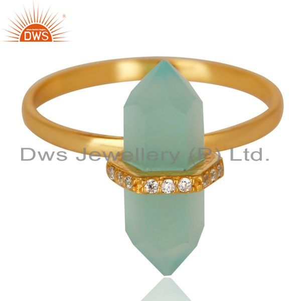 Exporter Aqua Chalcedony Cz Studded Double Terminated Pencil Gold Plated Silver Ring