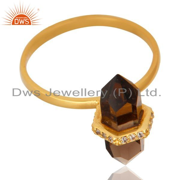 Exporter Smoky Topaz Cz Studded Double Terminated Pencil Gold Plated Silver Ring
