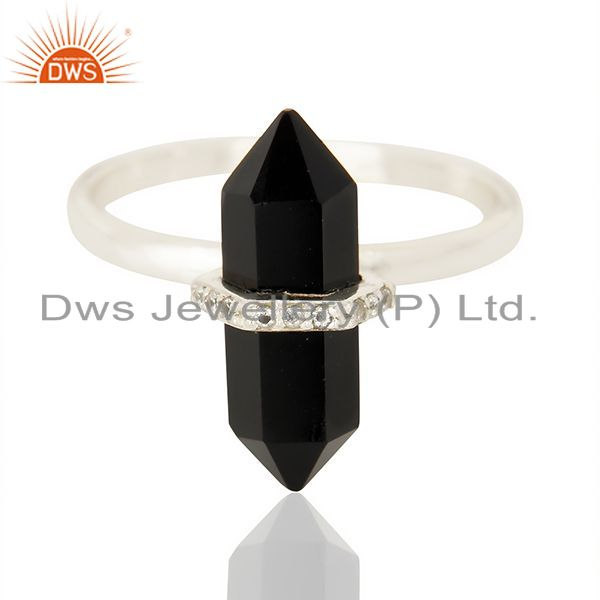 Exporter Black Onyx Cz Studded Double Terminated Pencil 92.5 Sterling Silver Ring