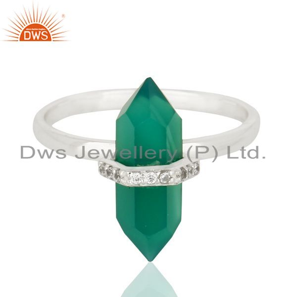 Exporter Green Onyx Cz Studded Double Terminated Pencil 92.5 Sterling Silver Ring