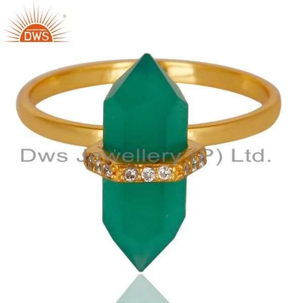 Exporter Green Onyx Cz Studded Double Terminated Pencil Gold Plated Silver Ring